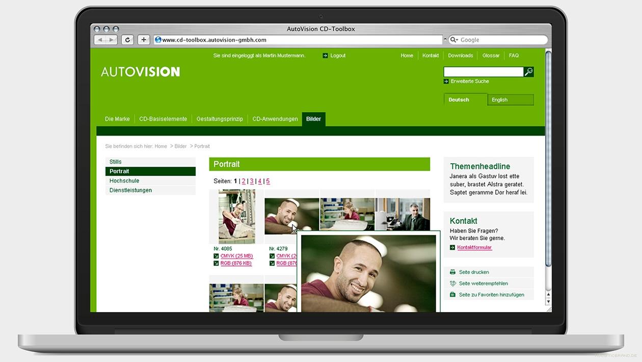 Screenshot von einer Website mit Galerieansicht