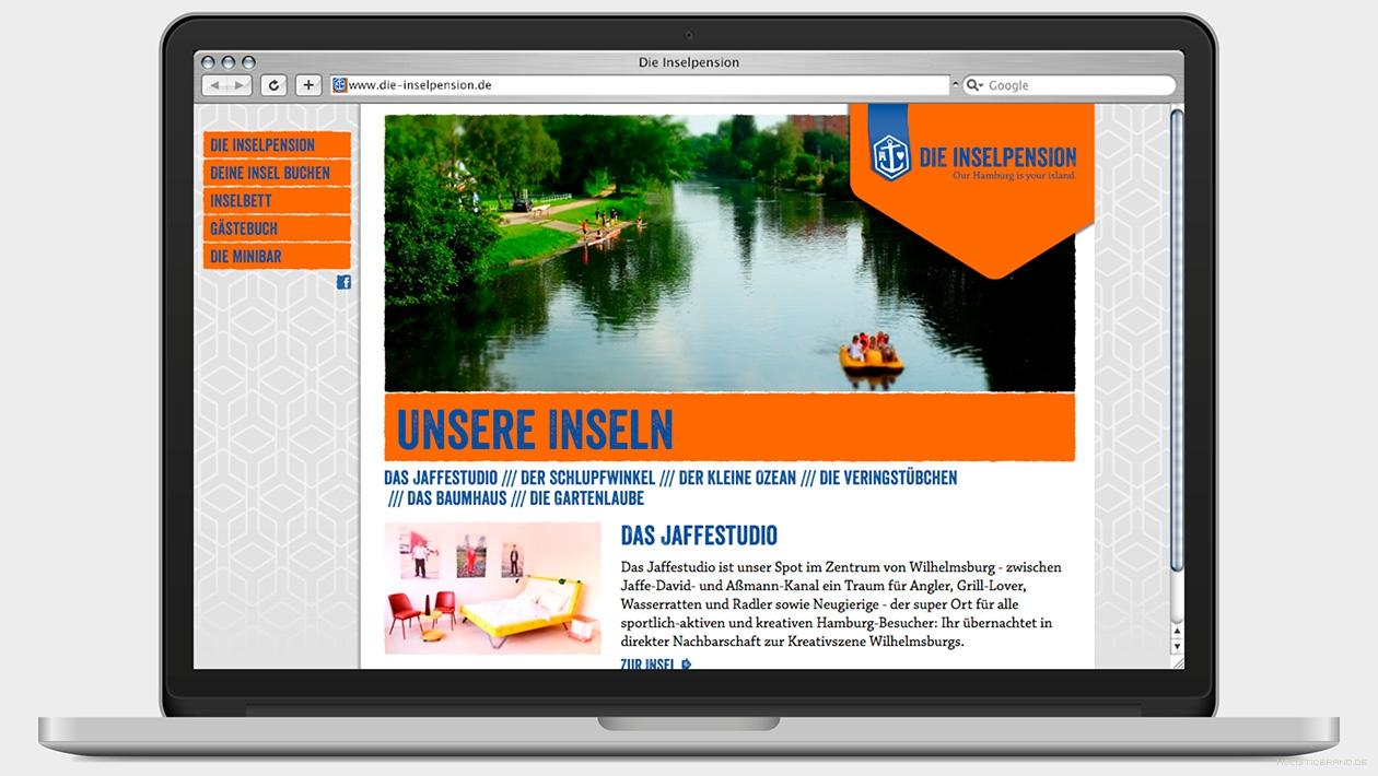 Screenshot einer Website mit großflächigen Bild und Text