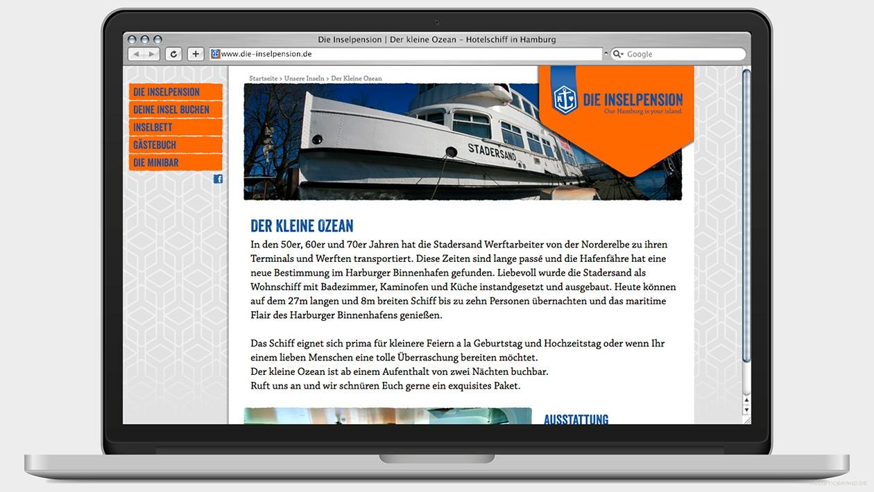 Screenshot einer Website mit Profil einer Unterkunft