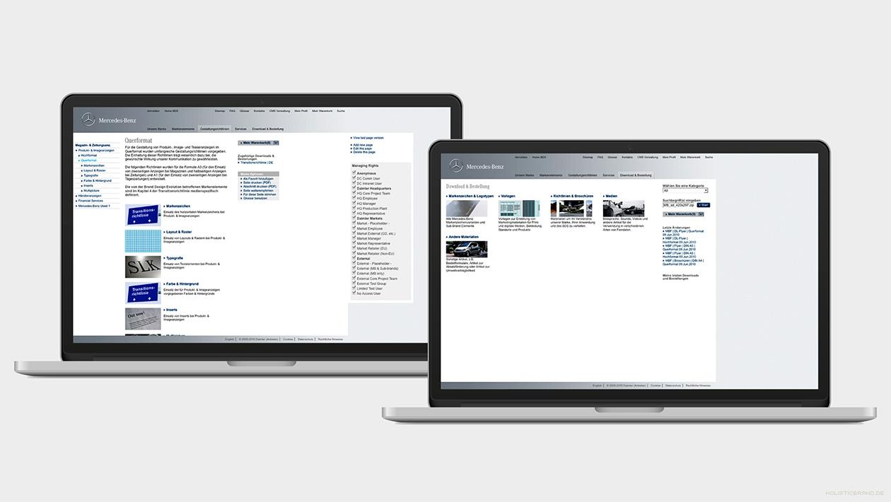 Zwei Screenshots aus dem Inhalt des Brand Design Systems