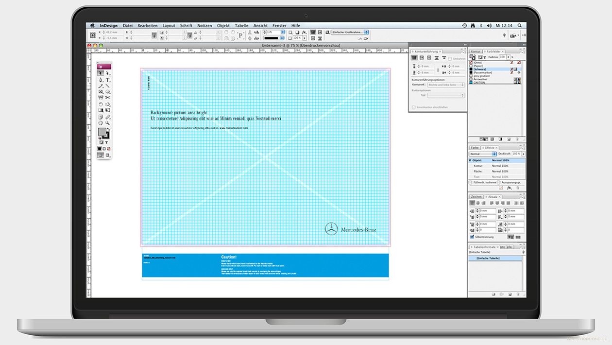 Screenshot eines Templates in InDesign