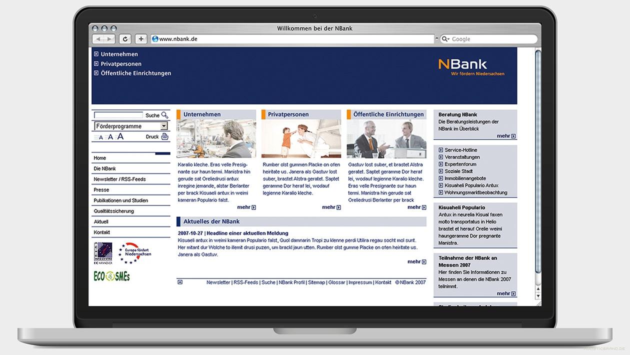 Screenshot einer Website mit Zielgruppenweiche