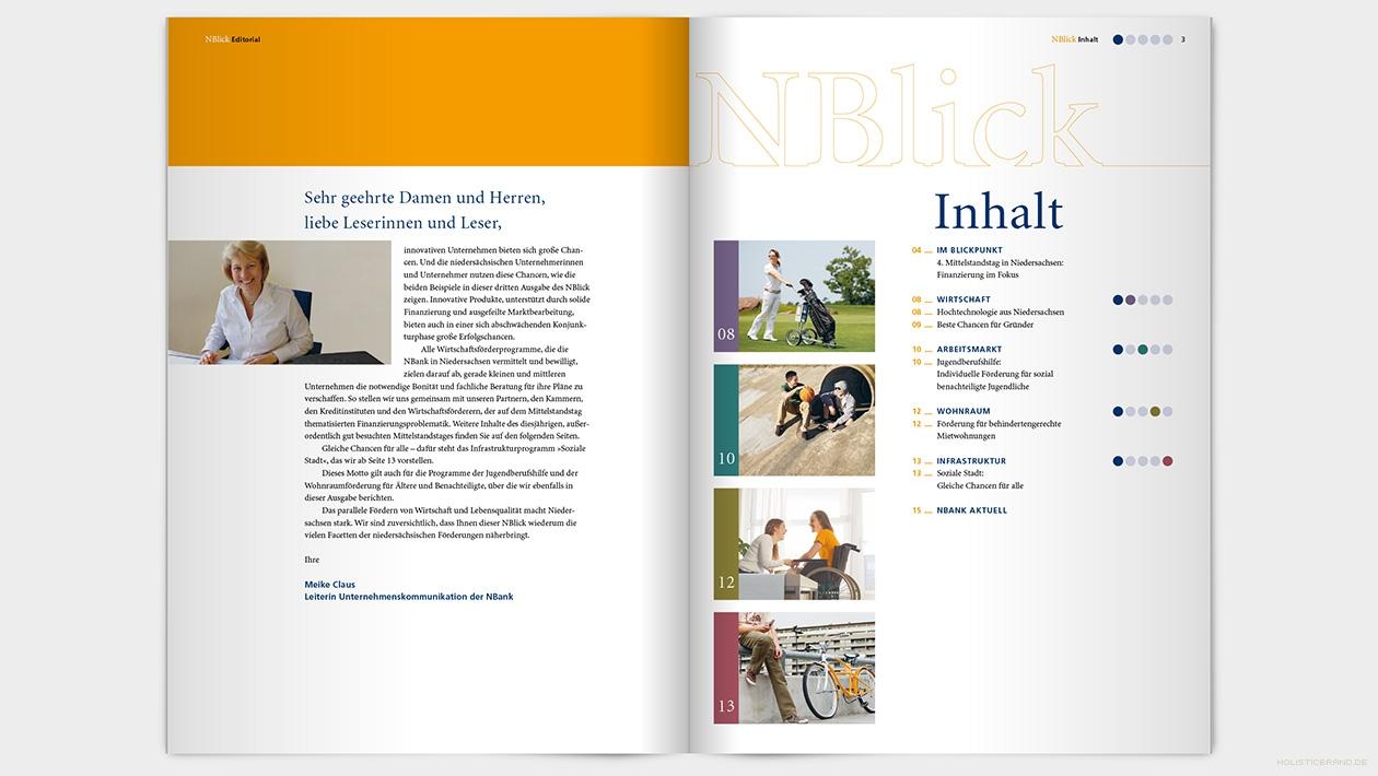 Layout einer Doppelseite mit Editorial und Inhaltsverzeichnis