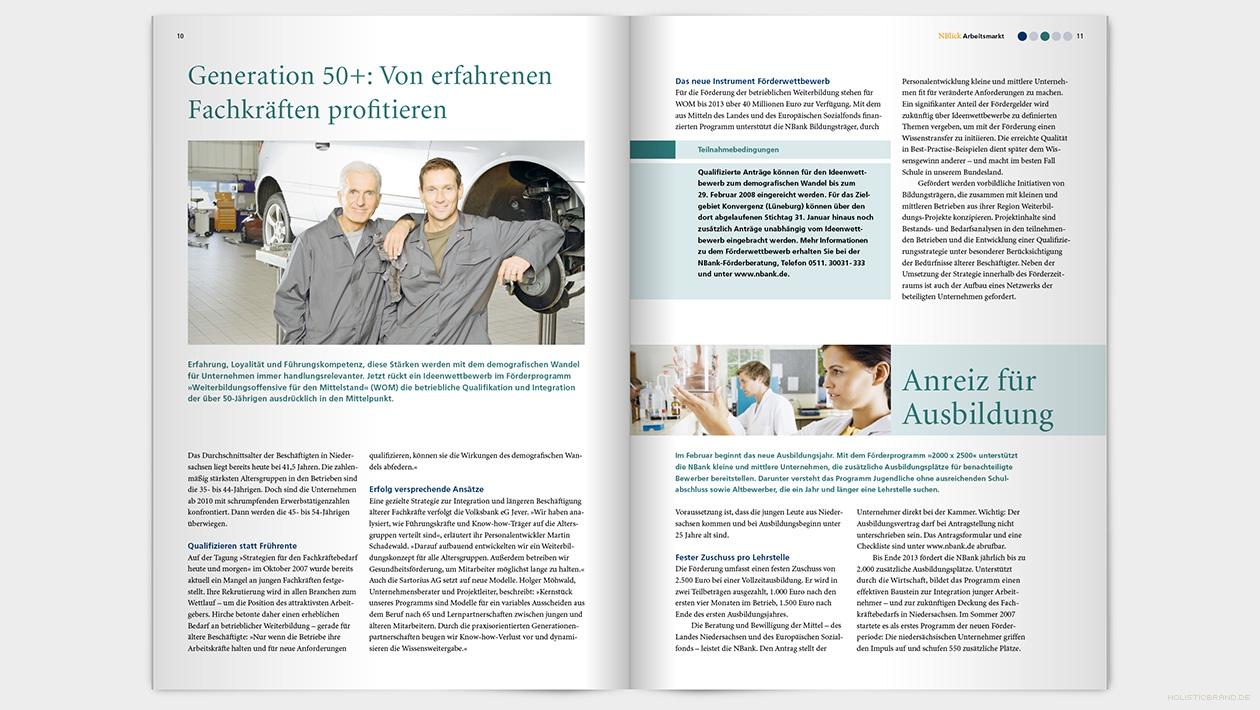 Layout einer Doppelseite mit Text und Bildern