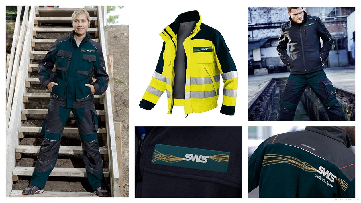 Bildkomposition mit exemplarischer Gestaltung von Arbeitskleidung