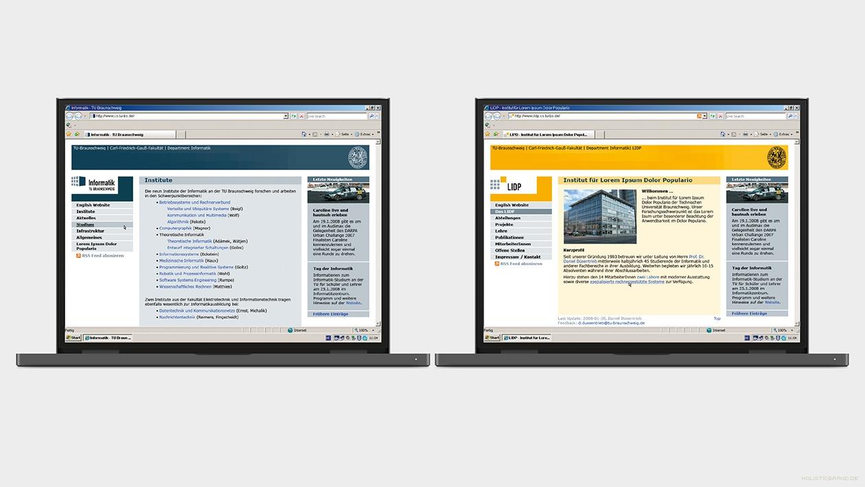 Gegenüberstellung der Department- und einer Institutswebsite
