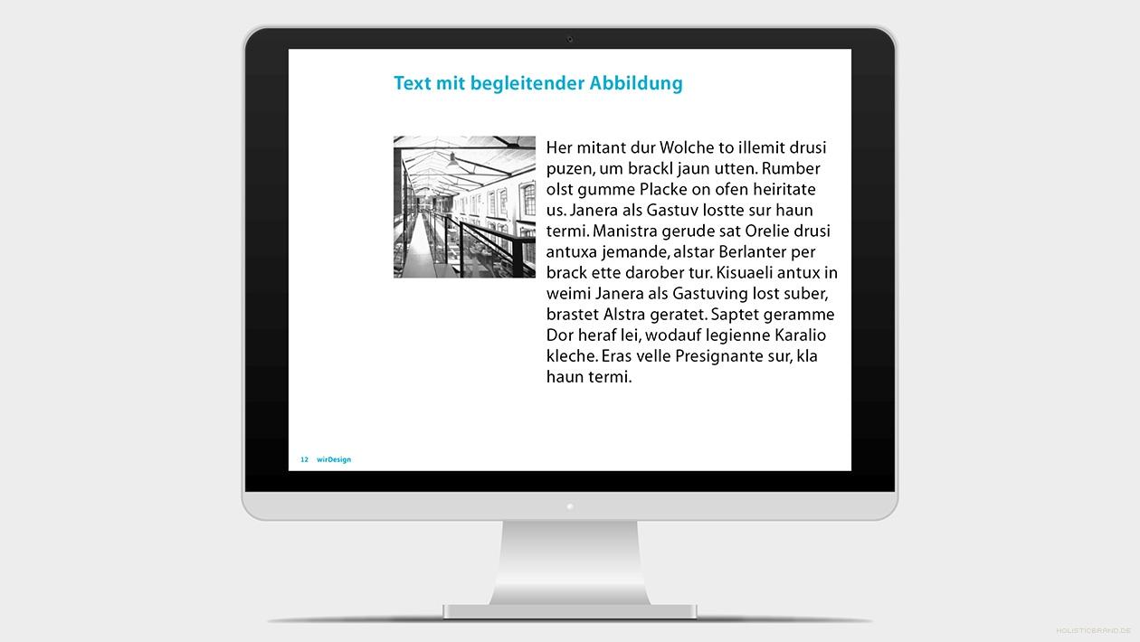 Screenshot aus einer Keynotepräsentation-Präsentation Fließtext und Abbildung