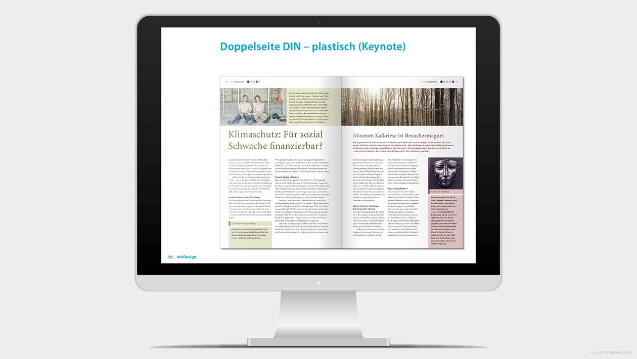 Screenshot aus einer Keynotepräsentation-Präsentation Doppelseitenlayout