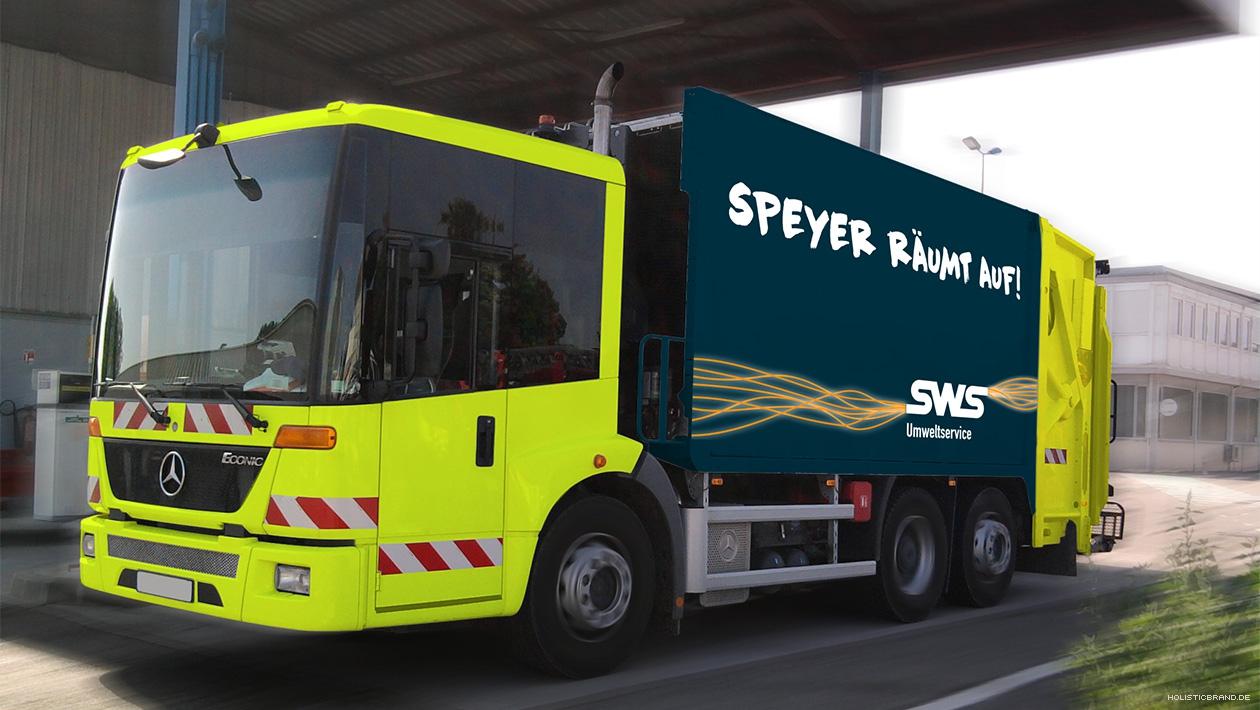 Bildkomposition mit exemplarischer Gestaltung eines Abfalltransporters
