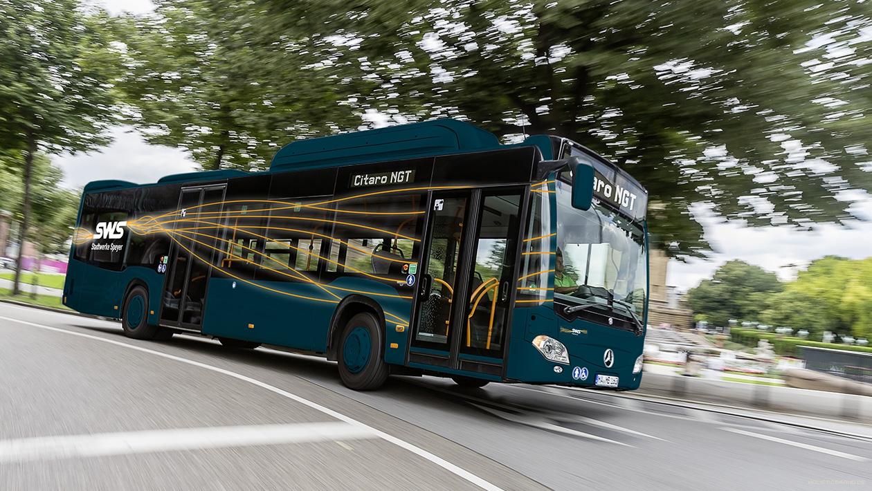 Bildkomposition mit exemplarischer Gestaltung eines Linienbusses